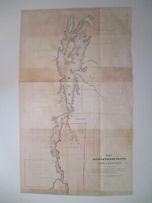 Map of French & English Land Grants on Lake Champlain, Pease, 1850