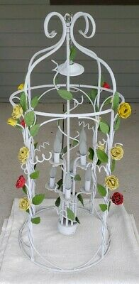 Vintage Wrought Iron Metal Toleware Style Yellow Red Floral 8 Light Chandelier