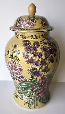 Vintage Oriental Accent Jumbo Famille Rose Ginger Jar Yellow Floral Chinoiserie