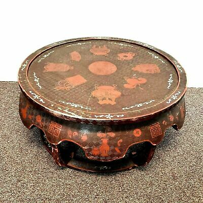 Antique Cinnabar Lacquered Round Low Coffee Table with Mother of Pearl Inlay