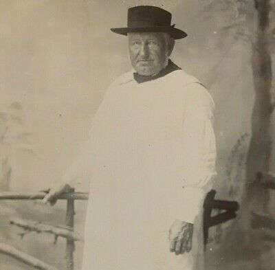 Antique Cabinet Card Photo Man Unusual Outfit White Robe Hat Macdonald Eton