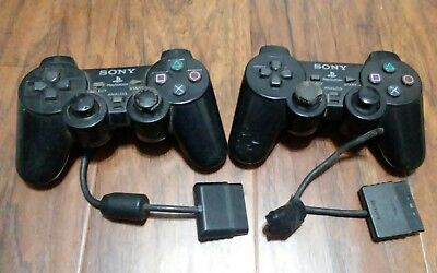Pair Two Sony OEM Playstation 2 DualShock 2 PS2 CONTROLLER SCPH-10010