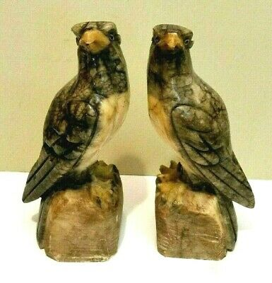 ANTIQUE PAIR of CARVED ALABASTER HAWK/FALCON STATUES or BOOKENDS w/ GLASS EYES