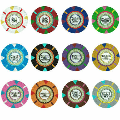 The Mint 13.5g Clay Poker Chips Sample Set New - 12 Denominations