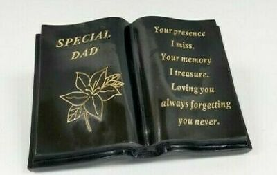 Dad Fathers Day Memorial Black and Gold Open Lily Book Graveside Plaque Garden