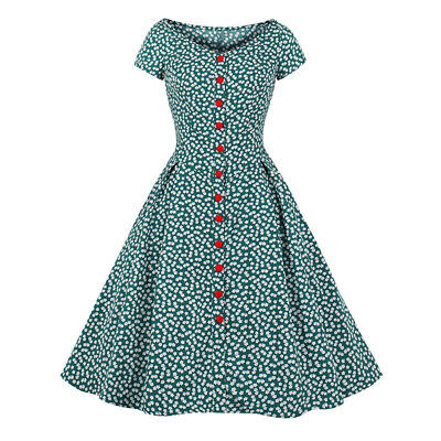 4dfd6cccb9a8 Ladies 1940s 1950s Rockabilly Vintage Style Retro Womens Party Swing Maxi  Dress