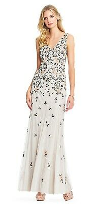 cb2775541 Adrianna Papell NEW Sleeveless Boho Floral Beaded Mermaid Gown Dress NWT  $349
