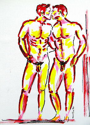 ORIGINAL art drawing painting two young male men kissing nude body muscle gay