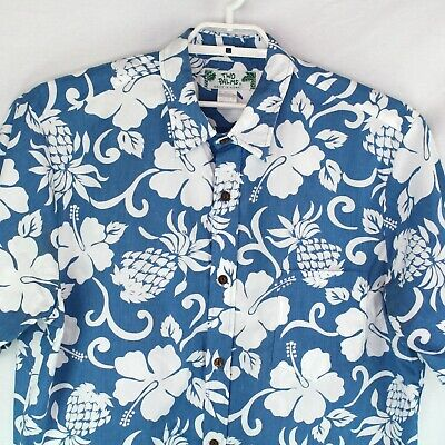 4fc5510978 TWO PALMS XL White Hawaiian Aloha Shirt Rayon Pineapple Islands ...