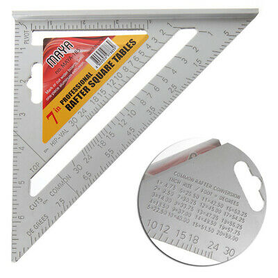 New 7 Inch Square Measuring Ruler Layout Tool Triangle Angle Protractor Silver