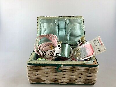 Vintage Sewing Basket & Contents - As Found - Basket Made In Japan - Cotton Etc