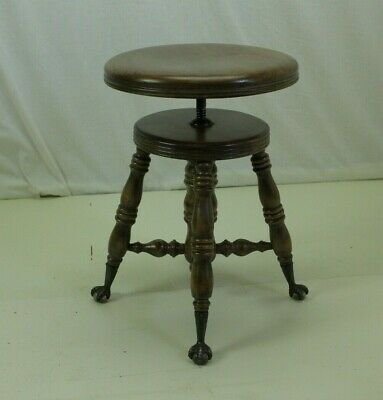 Adjustable Maple Wood Piano Stool With Claw Feet; 19th Century