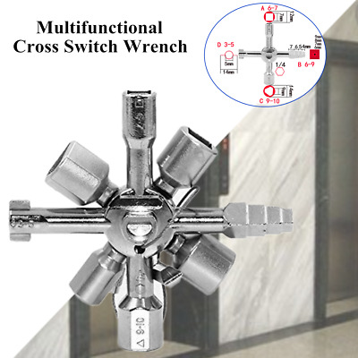 10in1 Multifunction Electrician Plumber Cross Switch Wrench Portable Key Wrench