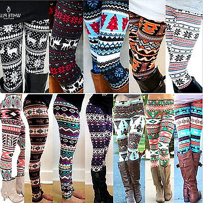Women Winter Knit Snowflake Leggings Warm Tight Fleece Stretch Pants Trousers AU