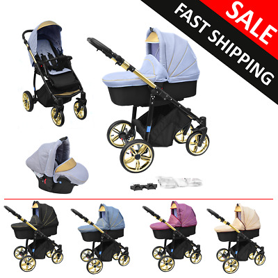 Baby Pram Complete Pushchair Car Seat Carrycot Buggy Newborn Travel System 3in1
