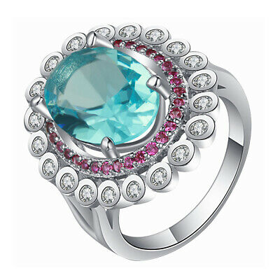 Green Pink Czech Zircon Copper Gold Plated Ring Bling Wedding Jewelry