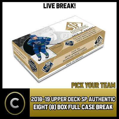 2018-19 Upper Deck Sp Authentic 8 Box (Full Case) Break #H378 - Pick Your Team