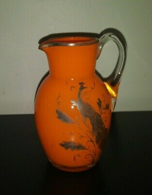 Orange Peacock Czech Bohemian Glass Pitcher Painted Enameled Art Deco