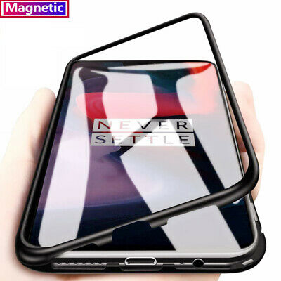 For OnePlus 7 Pro  Magnetic Adsorption Metal Back Tempered Glass Back Case Cover