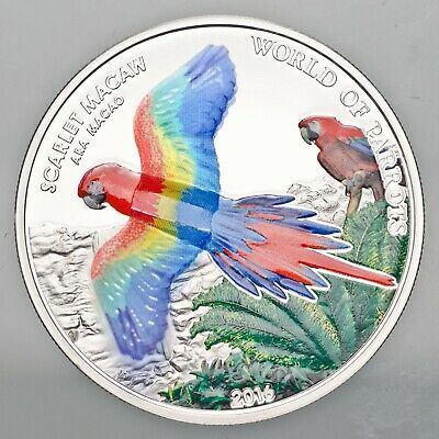 Cook Islands 2016 $5 Scarlet Macaw Colourful Parrots Proof - Stunning 3D Coin