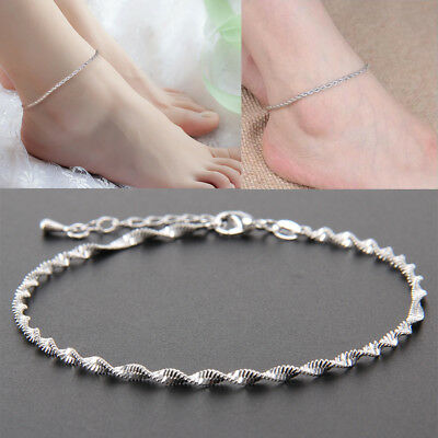 Women Ankle Bracelet Sterling Silver Anklet Foot Jewelry Chain Beach Fashion