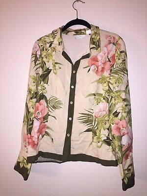23462812 Tommy Bahama Womens Medium 8/10 Blouse Long Sleeve Silk Floral Button Down  Shirt