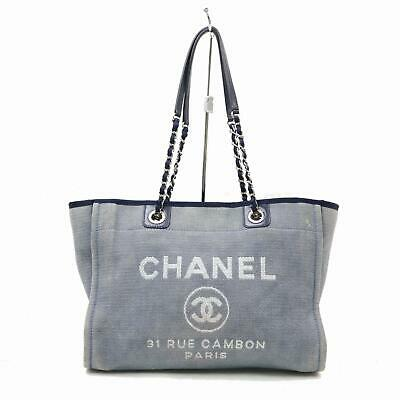 efd2c295d76f56 AUTH BNIB CHANEL Classic Deauville Large Black Grey Shopper Tote Bag ...
