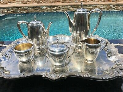 6 Pc Museum Quality Reed Barton Town & Country Sterling Coffee / Tea Set + Tray
