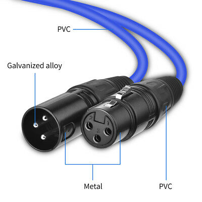 2/6/8m Balanced Microphone Lead/Mic Cable/XLR Patch Male to Female Black/ Blue