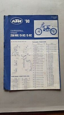 KTM 250 MXD.XCE.XC 1990 catalogo ricambi telaio chassis spare parts catalogue
