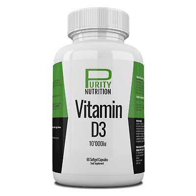 Purity Nutrition, Vitamin D3, 10,000 iu x 60 Softgel Capsules 10000 iu Vitamin D
