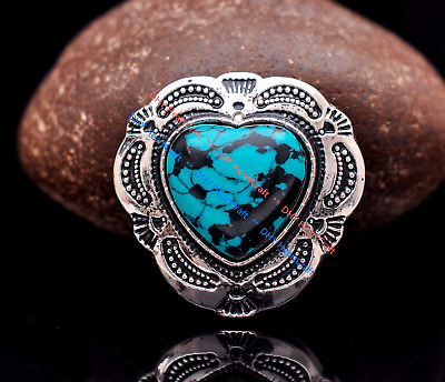 10X Silver Beauty Flower Heart Turquoise Conchos For Belt Leathercraft Handbag