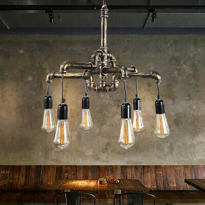 Vintage Water pipe Industrial Hanging Decor Ceiling Lamp Shade Pendant Light HOT