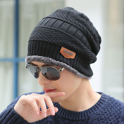 Mens Womens Winter Warm Fleece Knitted Crochet Slouch Ski Cap Beanie Elastic Hat