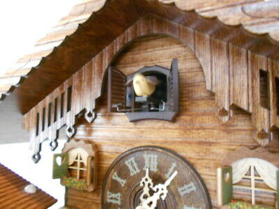 New Original Black Forest Cuckoo Clock, with Weather-House,  Quartz Incl Bat!
