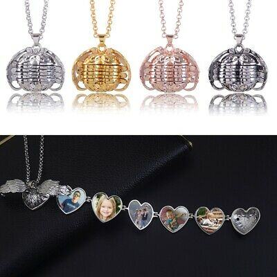 Expanding 6 Photo Love Heart Locket Necklace Pendant Angel Wings Gift Jewelry