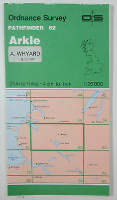 1965 old vintage OS Ordnance Survey 1:25000 Pathfinder map 62 Arkle NC 24/34