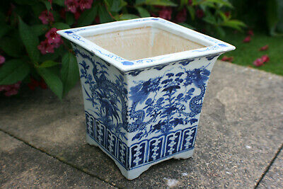 Antique Chinese Porcelain Hand Painted Blue & White Dragon Flower Square Pot