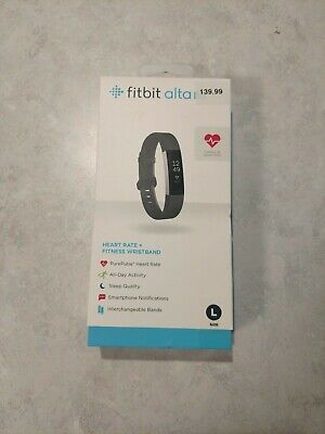 NEW Sealed in Box Fitbit ALTA HR Wristband Activity Tracker  Black Large Band