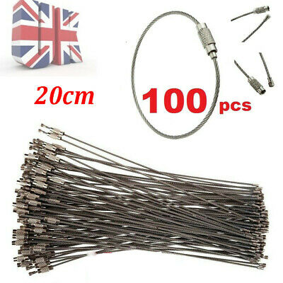 100pcs Wire Key Ring Chain Cable Stainless Steel Screw Closure EDC 20cm Wire