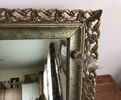 Antique Vintage Gold Tone Filigree Metal Lighted Table Vanity Mirror
