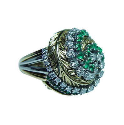 Tiffany & Co Emerald Diamond Ring 18K Gold Heavy Vintage Estate