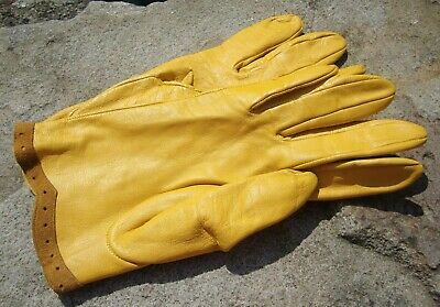 Vintage Pair Of Ladies Leather Gloves - Sunflower Yellow - Very Good Condition