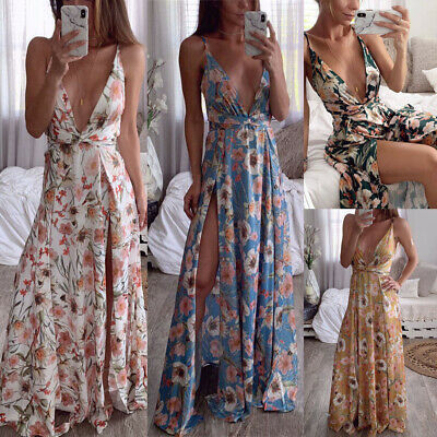 Lady Sexy Deep V-Neck Sleeveless Floral-Print Cocktail Evening Party Maxi Dress