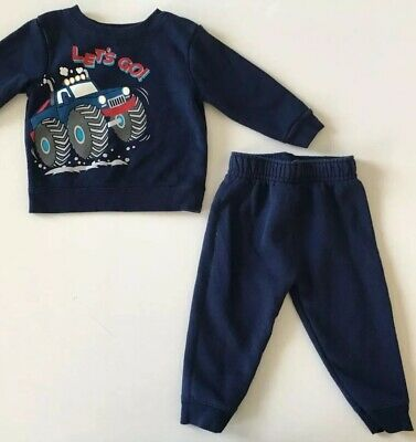 8a446e6bc Granimals Sweatsuit 12M Baby Boy Navy Monster Truck Let s Go Graphic Outfit  Blue