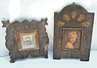 Pair of Antique Primitive Carved Wood Picture Frames ~ Perfect for Icons