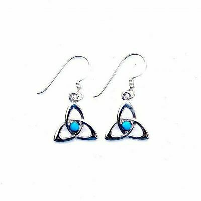 Sterling Silver Turquoise Stone Goddess Triquetra Earrings - Infinity Knots