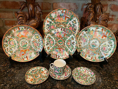8 pc. Antique Chinese Rose Medallion China Plate Porcelain Canton Famille Rose