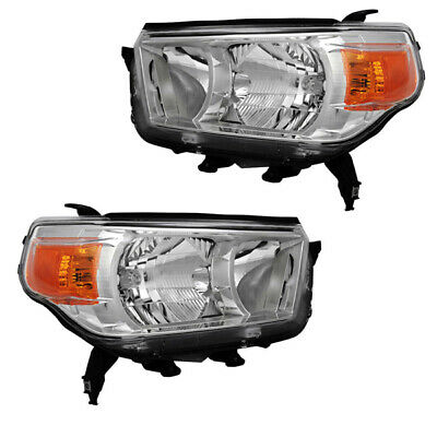 For 10-13 4Runner w/o Trail Package Front Halogen Headlight Headlamp Set Pair