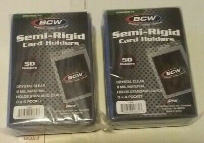100 count BCW Semi-Rigid Card Holders - PSA BGS Grading Submission Size, New